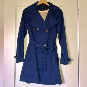 H&M Navy Blue Trench Coat